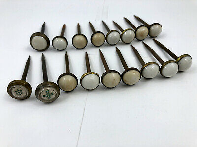17 Antique Victorian Brass Metal and Glass Nail Head Covers Picture Hanger