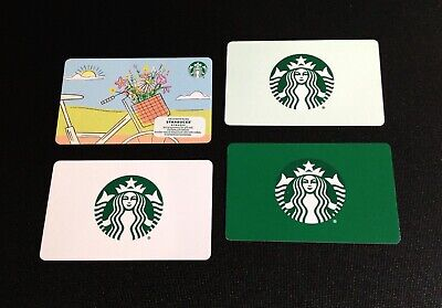 🇨🇦 Canada Starbucks Logo & Flower Gift Card --- Lot Of 4 Pcs. ----- New