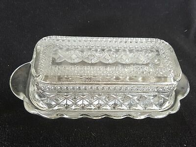 Anchor Hocking WEXFORD Pressed Glass Lidded Butter Dish  EUC