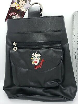 Betty Boop black faux leather Purse Embroidered Shoulder Strap vtg Amer Comix