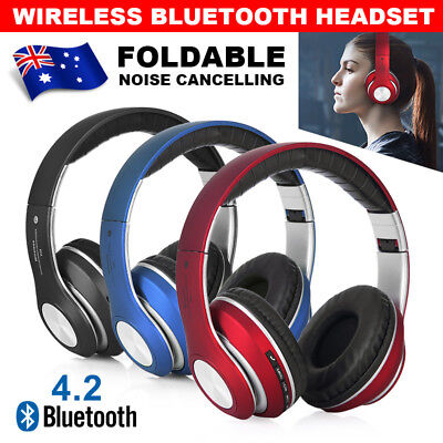 Wireless Bluetooth Foldable Headset Stereo Headphones With Mic Noise Cancelling