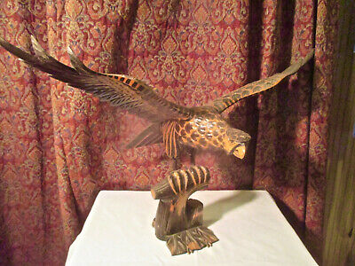 Hand Carved Wood Sculpture of Red-tailed Hawk.