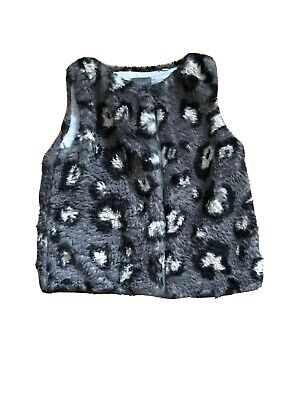Next Girls Animal print fluffy gillet age 2-3 years grey height 98cm