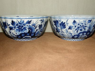 Set Of Two Antique De Porceleyne Fles Delft Blue Bowls.