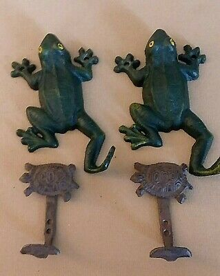 Lot of 4 Cast Iron FROGS & TURTLE HOOKS For Coats Towels for Indoors/Outdoors