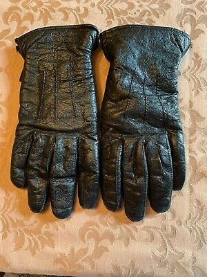 Women's Black Leather Gloves Thinsulate Insulation Fleece Lined Sz Large