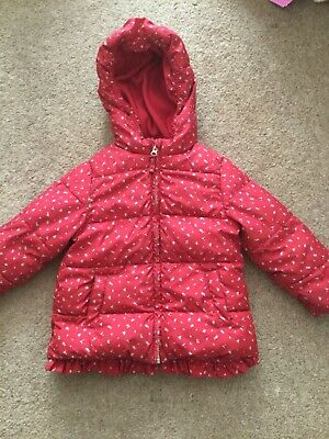 next girls red floral padded hooded coat  age 3 to 4