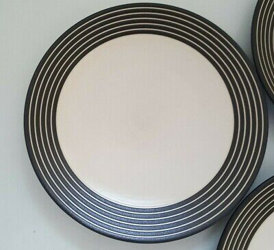 6 Denby Intro Stripes Brown Large Dinner Plates,