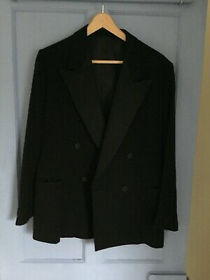 Vintage 50s Bespoke Black Wool Double Breasted Dinner/Evening Jacket
