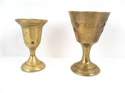Vintage Brass Incense Burners Etched India Set of 2 Small