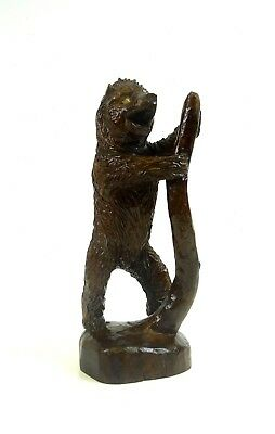 Rare Antique Handcarved Black Forest Bear Germany 1890 Folk Art Signed
