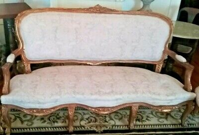 "French Louis XV SETTEE: Canape and 2 Arm Chairs, Giltwood-""FADED GLORY"""
