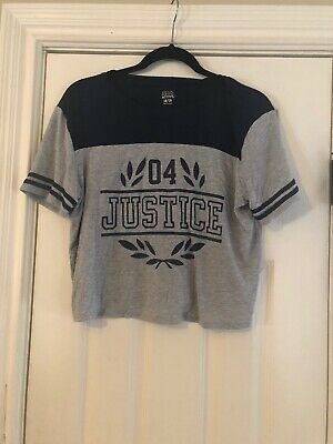 Justice Girls Crop Top Size 18/20 Navy Blue And Grey