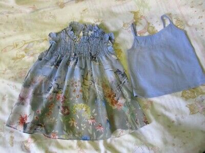 NEXT 2 pce set smocked top dress and strappy cami girls age 3 blue green bird