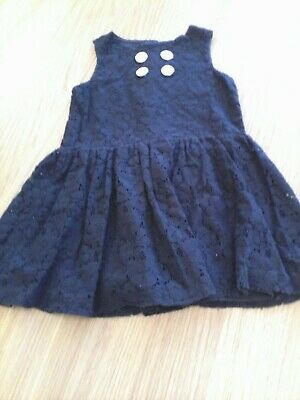 Babaluno Girls Knitted Lace Fully Lined Navy Dress Age 12//18 mths /& 18//24 mths