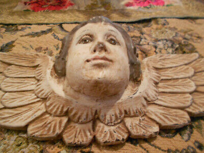 Antique Carved Wooden Angel Head with Glass Eyes
