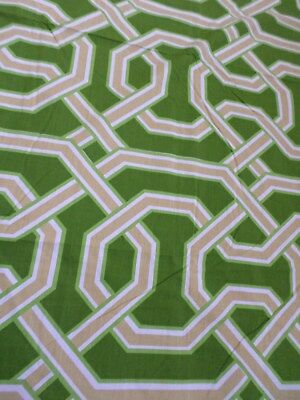 Retro Vintage Sheridan Green Brown And White Geometric Cotton Sheet Fabric..NEW