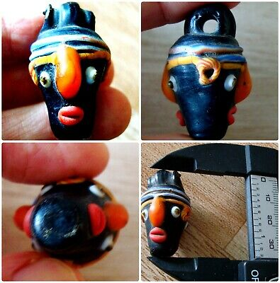 Ancient Phoenicia Black Double Idol Face Roman Mosaic Glass Bead Pendant 112