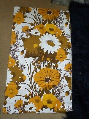 Retro Vintage Brown Yellow And White Floral Synthetic Blend Fabric..