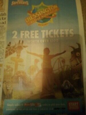 2 Chessington Tickets-Booking Form &10 Sun Tokens £2.99