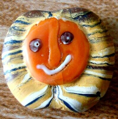 Ancient Phoenician Orange Glass God Smile Face Mosaic Bead Totem Pendant 39