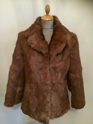 Glossy Real Fur Coat Jacket    Size 14