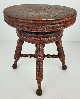 Antique Mini Wooden Piano Stool Chair Salesman Sample Adjustable Ball Feet Dolls