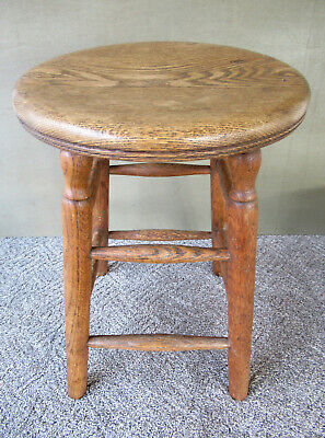 "Antique Stool Primitive Vintage Oak Wood, 21-1/2"" Tall 14"" Seat, 4-Leg Stand"