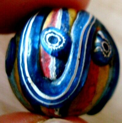Ancient Phoenician Eye Striped Mosaic Glass Mold Convex Art Blue Bead Pendant 78