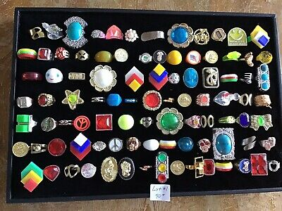 Huge Lot 90+ 60s-80s Vintage Toy Plastic Metal Fashion Rings Vending Gumball