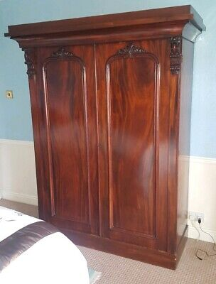Large William 1V Mahogany Two Door Fitted Wardrobe.