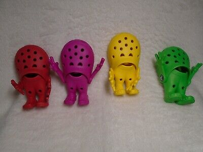 Lot of 4 CROCS Croslite GUYS Fuschia, Red, Lime & Yellow Advertising Figurines