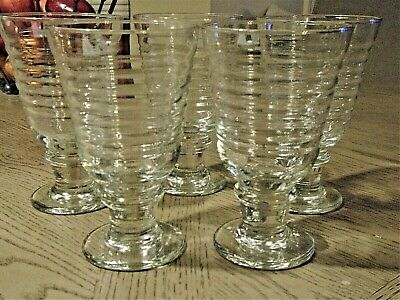 Anchor Hocking Manhattan Clear Footed Water Goblets  (5)