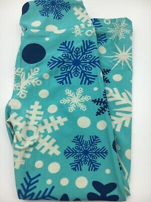 LULAROE 2019 Home For The Holidays CHRISTMAS LEGGINGS Kids S/M Snowflakes