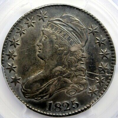 1825 CAPPED BUST 50 CENT,  PCGS Genuine - XF Detail, Scratch