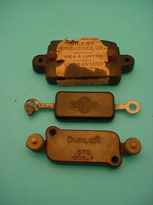 3 x  FIXED MICA CAPACITOR * VINTAGE 1920s * 5000 pF & 200 pF & Unk. * NOT TESTED