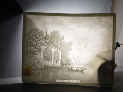 Antique Signed Ppm 563 Lithophane Panel 'Chapelle De G Tell' Mountains Church