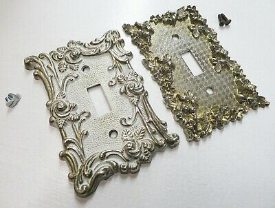 1960's Vintage Light Switch Covers Ornate Brass Rose (American Tack/Mid-Century)
