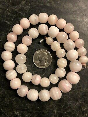 Antique / Vintage Sterling Silver Pale Pink Lace Agate Bead Necklace 925