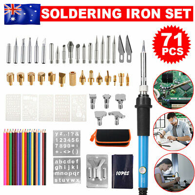 71Pcs Electric Soldering Iron Kit Solder Welding Tool Stand Wood Burning Kit 60W