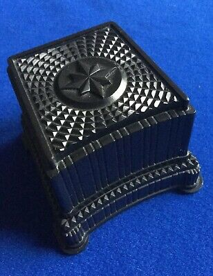 RARE Antique Art Deco Black Celluloid Ornate Geometric Ring Box - Deadwood, USA