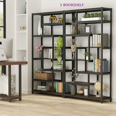Rustic Industrial Etagere Bookcase Storage&Display Shelves w/ Sturdy Metal Frame