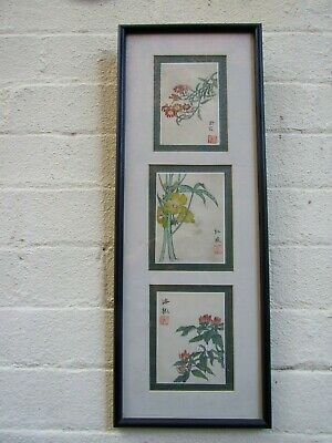 Vintage Chinese 3x Miniature Woodblock Print Floral Design Stamped & Signed