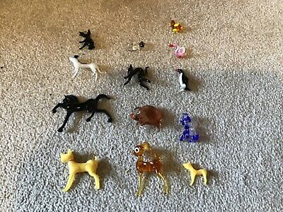 Cute Coloured Glass Miniature Animals Ornament Collectable Gift Set