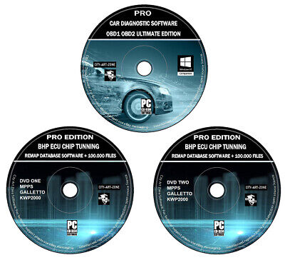 ELM 327 OBD 1 OBD 2 Pro Car Diagnostic Software + ECU Remapping Tuning BHP DVD