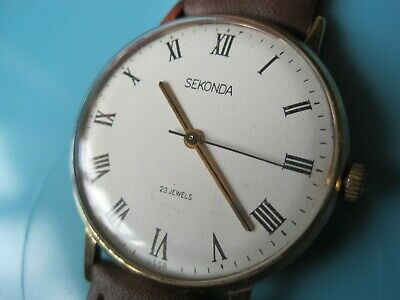 Lovely Gold Plated 23 Jewel Gents Sekonda Watch White Face Roman Numerals