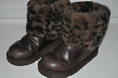Kids UGG Australia Ellee Animal 1003723K Stout Brown Leather Boots UK13/EU31/US1