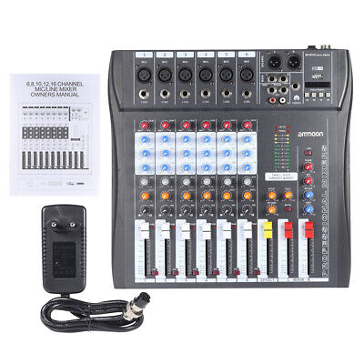 Andreagiallorosso 60S-USB 6 Canali Mic Audio Mixer Mixing Console 3-Band EQ D3Z8