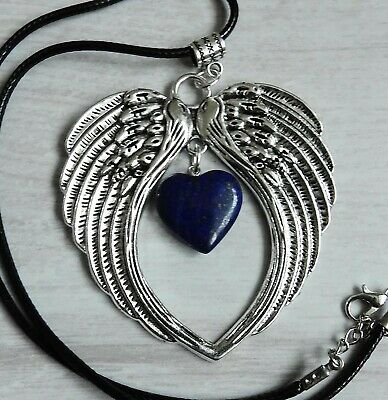 Large Antique Silver Style Angel Wing Pendant  Lapis Lazuli Heart Necklace Reiki