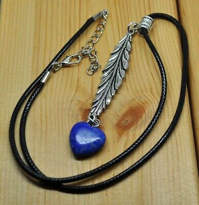 Antique Silver Style Feather  Lapis Lazuli Heart Pendant Necklace Crystal Ladies